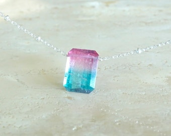 Tricolor Pink and Blue Tourmaline necklace OOAK Birthday Gift for her, Emerald cut Tourmaline baguette jewelry, gemstone necklace
