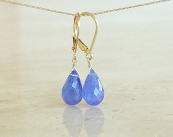 Tanzanite Briolette earrings, Periwinkle Authentic gemstone in sterling silver or gold filled, Birthday gift for her, December birthstone