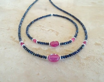 Genuine Sapphire necklace Ultra dainty blue and pink Sapphires beaded necklace September Birthday gift for her Authentic gemstone necklace