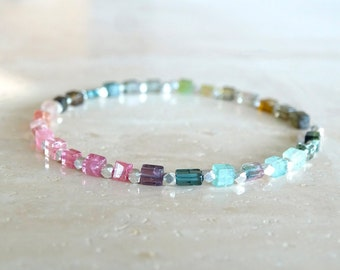 Rainbow Tourmaline bracelet in sterling silver or gold filled, Tourmaline jewelry square beads, October Birthstone Birthday gift for her