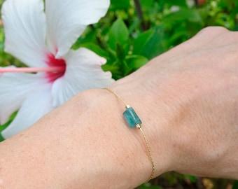 Blue tourmaline bracelet Minimalist raw stone Dainty Tourmaline tube gold filled bracelet Birthday gift for her, Rough Indicolite jewelry