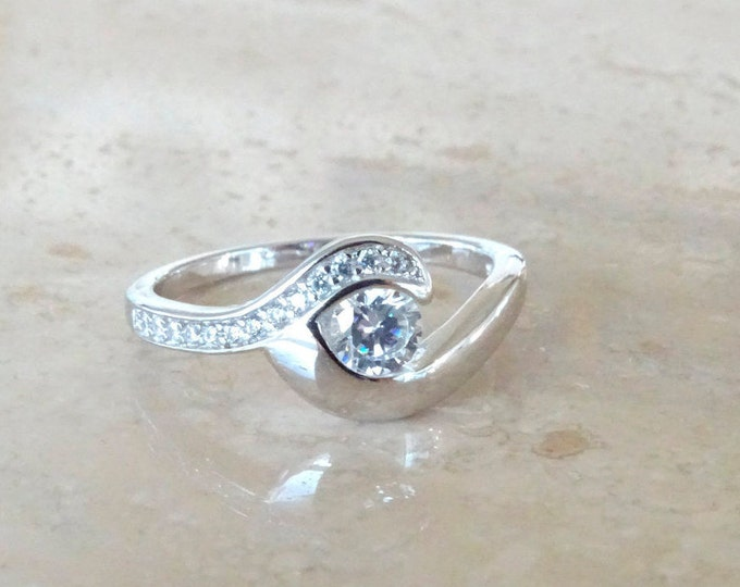 Featured listing image: Ocean Wave ring, Ocean Jewelry, Beach ring, Birthday Gift for her, for Ocean Lover, Surfing ring with CZ,  Cubic Zirconia Surfing Ring