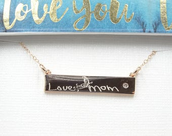 Custom Jewelry Personalized Handwritten bar necklace,  for her, Actual Handwriting, CZ bar Your signature Personalized gift