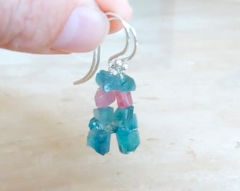 Blue and Pink Tourmaline earrings, Raw crystal earrings,  Birthday gift for her,  Rough stone indicolite dangle earrings, gemstone jewelry
