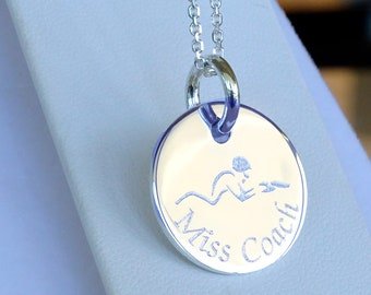 Personalized Necklace for swimmer Custom Gift For Swim coach gift  Birthday gift, Swimming necklace, Jewelry for swimmers