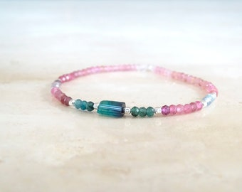 Tourmaline bracelet, elastic gemstone stretch,  Blue teal tourmaline tube, October Birthstone Birthday gift for her