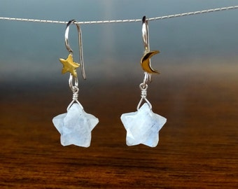 Whimsical Celestial earrings, Christmas gift for her, Moonstone star earrings, Cosmic jewelry, Inspirational gift