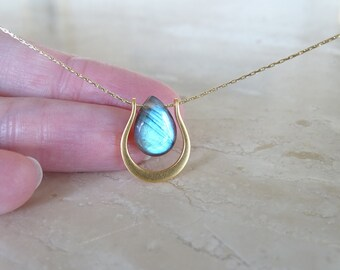 Labradorite necklace, Birthday Gift for her, gift for BFF Blue Flash Labradorite briolette gemstone jewelry in gold filled, Graduation gift