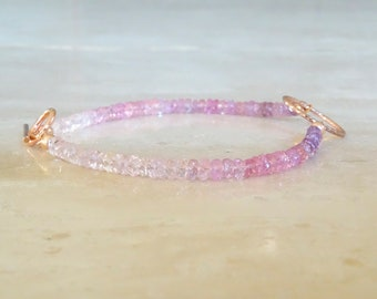 Pink Sapphire bracelet, Valentine's gift for her, Rose Gold Filled Ombre Pink Authentic Sapphire jewelry, purple beaded with toggle clasp