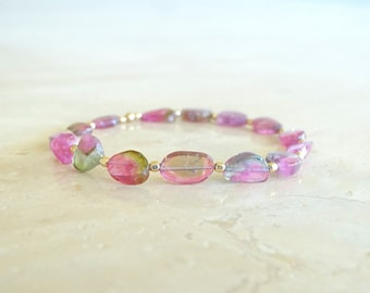 Watermelon Tourmaline bracelet, Stretch gemstone OOAK  for her, Birthday gift, Bi-color Tourmaline slices elastic bracelet