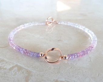 Pink Sapphire bracelet,  for her, Rose Gold Filled Ombre Pink Authentic Sapphire jewelry, purple pink beaded with toggle