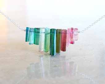 Rainbow Tourmaline sticks necklace, Raw crystal Rough stone, Birthday gift for BFF, gift for her, , rough gemstone