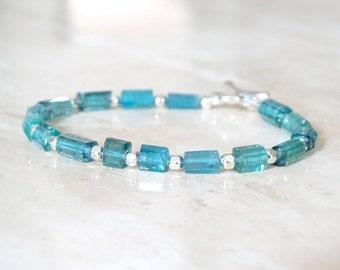 Blue Tourmaline bracelet, Christmas gift, Teal Tourmaline Tubes, Indicolite jewelry, October Birthday gift for her, pipe gemstone bracelet