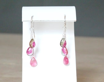 Watermelon Tourmaline briolette earrings, One of a kind Mother's day gift, Birthday gift for her,  Dangle multi color Gemstone jewelry