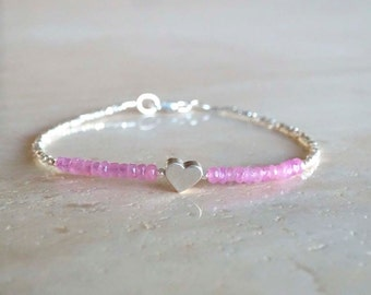 bracelet, Heart bracelet with authentic genuine Sapphires in your choice of pink, blue, teal or turquoise sapphires jewelry