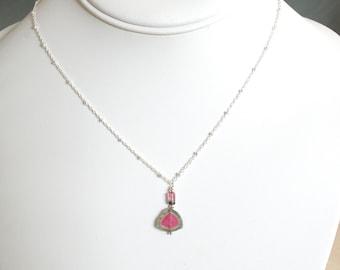 Watermelon Tourmaline necklace, Birthday Gift for her, gemstone slice, bi-color tourmaline gold filled jewelry