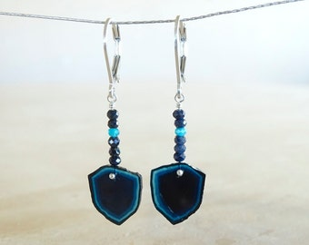 Blue tourmaline earrings, OAAK  gift for her, Tourmaline slices, Indicolite jewelry