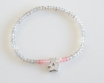 Teddy bear bracelet, Personalized gift for girl Birthday gift Dainty Sterling Silver Bear Charm stretch bracelet with pink sapphires