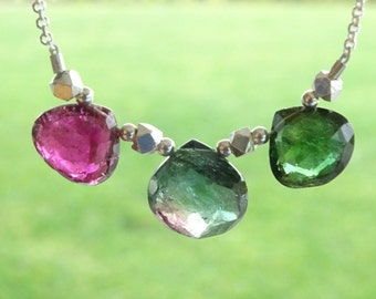 Watermelon Tourmaline necklace, Mother's day gift  Multi color Tourmaline heart briolettes,  Birthday gift for her, Anniversary gift