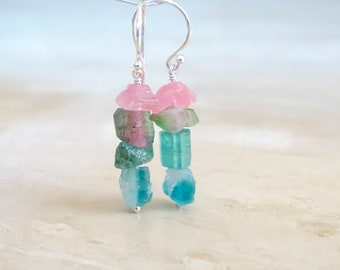 Raw tourmaline dangle earrings, October Birthday gift for her, Rough stone jewelry, multi color rock candy crystals