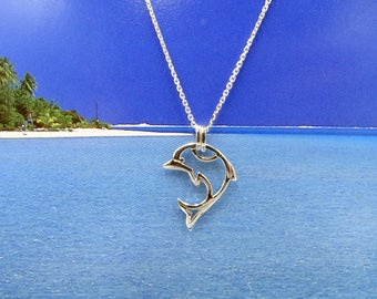 Dolphin necklace sterling silver, Valentine's gift, Birthday gift for ocean lover, Dolphin jewelry, Tropical necklace Dolphin pendant Beach