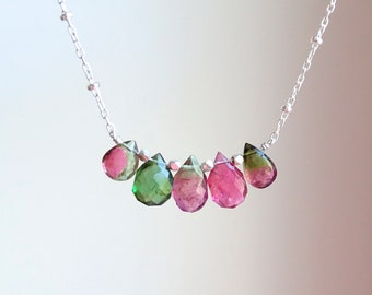 Bi-color Tourmaline briolettes necklace, OOAK Christmas gift, October Birthday gift for her,  gift for BFF, gemstone necklace