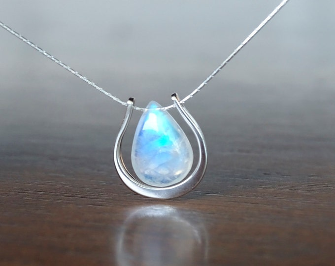 Featured listing image: Rainbow Moonstone necklace, Valentine's gift for her, June Birthday gift for girlfriend, Blue Flash briolette Horseshoe gemstone pendant