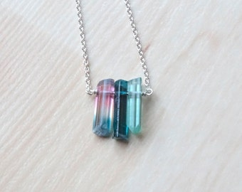 Tricolor Tourmaline necklace, Christmas gift for her, Birthday gift , Bi-color crystal, Blue and pink raw stone jewelry October Birthstone