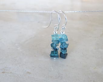 Raw tourmaline earrings,  Birthday gift for her, Ombre Blue rough stone indicolite dangle earrings, gemstone jewelry