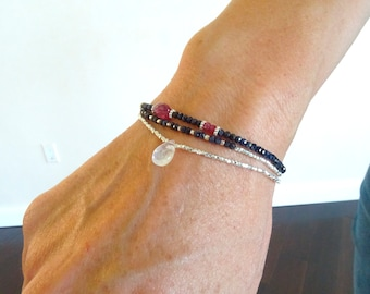 Rainbow Moonstone bracelet stretchy Blue Flash Moonstone briolette elastic silver & Moonstone June Birthstone Autumn Birthday Gift for her