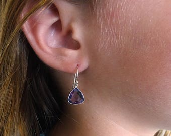 Amethyst earrings,  for her, Birthday February birthstone, Authentic Amethyst jewelry, Bridesmaids earring Gold Filled