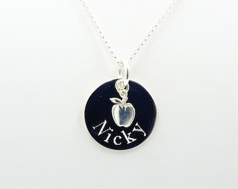 Personalized gift for Teacher necklace,  gift , Appreciation gift for teacher, Apple Necklace necklace in silver, Engraved