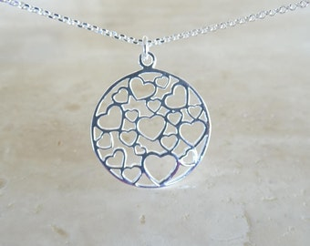 Silver heart filigree, Love necklace hearts Cutout Pendant in sterling silver, Birthday Gift for her for BFF
