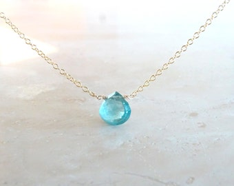 Blue tourmaline necklace,  or Birthday gift for her, Solid 14K gold tourmaline briolette pendant, OOAK Authentic blue gemstone