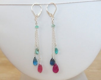 Multi gemstone briolette earrings, Authentic sapphire, aquamarine and emerald jewelry