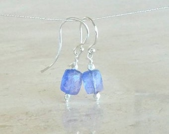 Tanzanite earrings,  Birthday gift for her, Purple blue Periwinkle Tanzanite baguette jewelry in silver or gold filled