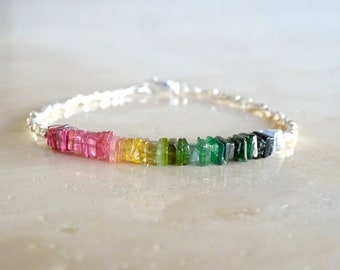 Heishi rainbow tourmaline bracelet, Mother's day gift for her, Stretch beaded elastic skinny rainbow gemstone jewelry, gift  for BFF