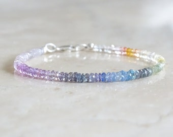 Authentic rainbow AAA sapphires bracelet, September birthday gift for her, Natural genuine multi color gemstone jewelry