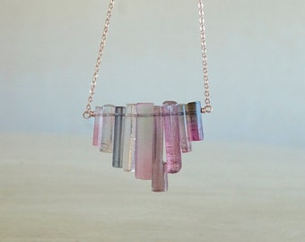 Purple Pink Tourmaline necklace, Tourmaline sticks, Rough Raw crystal gemstone, October Birthday gift for BFF gift for her