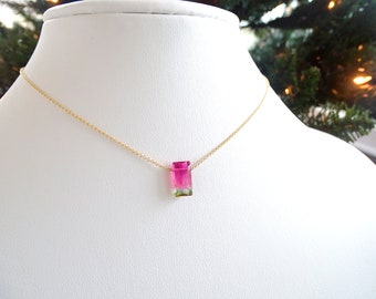 Bi-color Tourmaline necklace OOAK Birthday gift for her, Bicolor Watermelon Tourmaline baguette set in gold filled gemstone jewelry pendant
