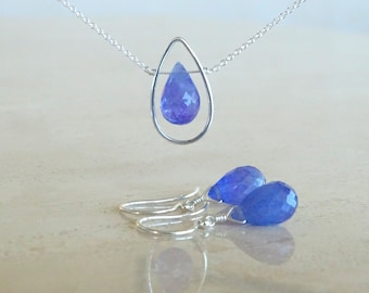 Tanzanite necklace and earrings, Periwinkle set in sterling silver, Bridesmaids gift with personalized card