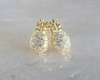 Pineapple stud earrings, Birthday gift for her, Tropical gift for girlfriend, Aloha jewelry with CZ or rhinestones