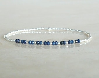 Stretch Sapphire and silver bracelet ultra dainty Sapphires beaded bracelet Virgo gift Birthday gift for her Elastic Sapphire gemstone