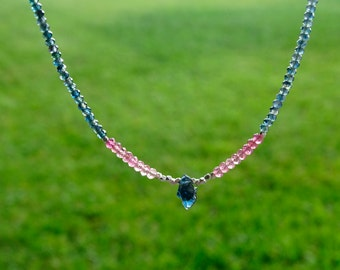 Rough Sapphire necklace Australian blue sapphire & pink tourmaline OOAK necklace Authentic preciuos gemstone necklace