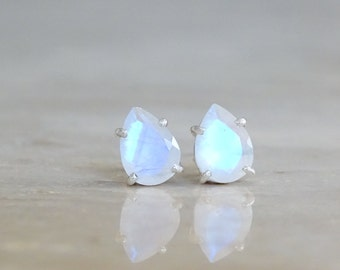 Rainbow Moonstone stud earrings, Valentine's gift, June Birthstone, Birthday gift for her, for girlfriend, Celestial Jewelry Inspirational