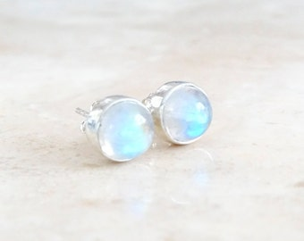 Rainbow Moonstone stud earrings, Valentine's day gift, June Birthstone, Birthday gift for her, Celestial Jewelry Inspirational