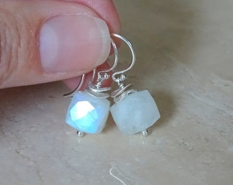 Rainbow Moonstone earrings, Gift for BFF gift for her, Rainbow Flash moonstone cube Rainbow  Moonstone Jewelry