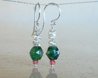 Watermelon Tourmaline earrings, Tourmaline  jewelry gemstone earring  Birthday gift for her,  gift for BFF