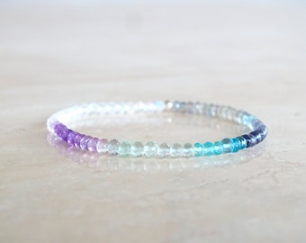 Ombre gemstone bracelet, Mixed multicolor semi precious elastic with Aquamarine, Topaz, Sapphires, Moonstone,  for her