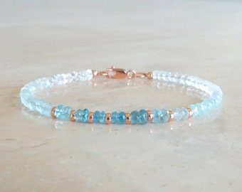 Aquamarine bracelet, Christmas gift, delicate shaded blue, gradient ombre blue, March birthday gift for her rainbow moonstone Jewelry
